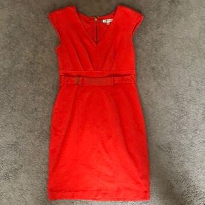 Red wear to work dress, back zip gold detail